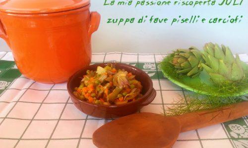 Zuppa di fave piselli carciofi