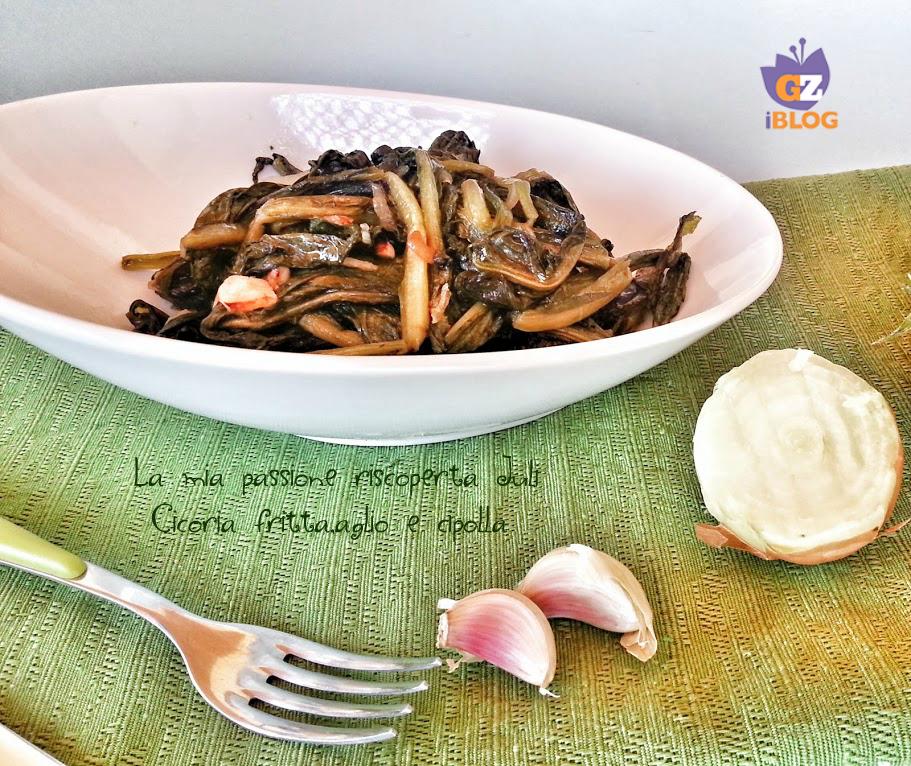 Cicoria fritta,aglio e cipolla