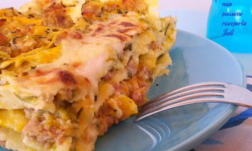 Lasagne con zucca e zucchine salsiccia