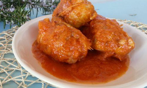 Cosce di pollo disossate ripiene con prosciutto