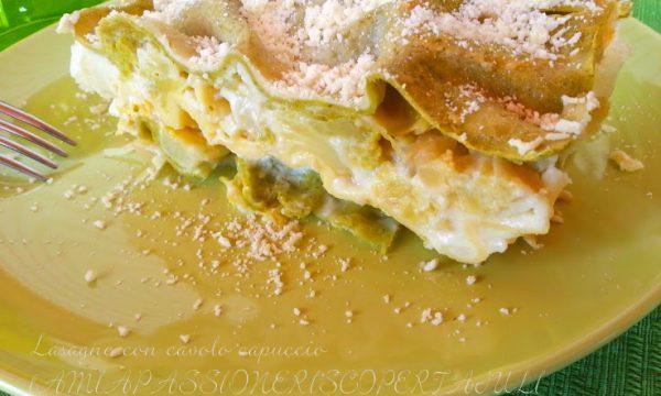 Lasagne con cavolo capuccio e broccolo