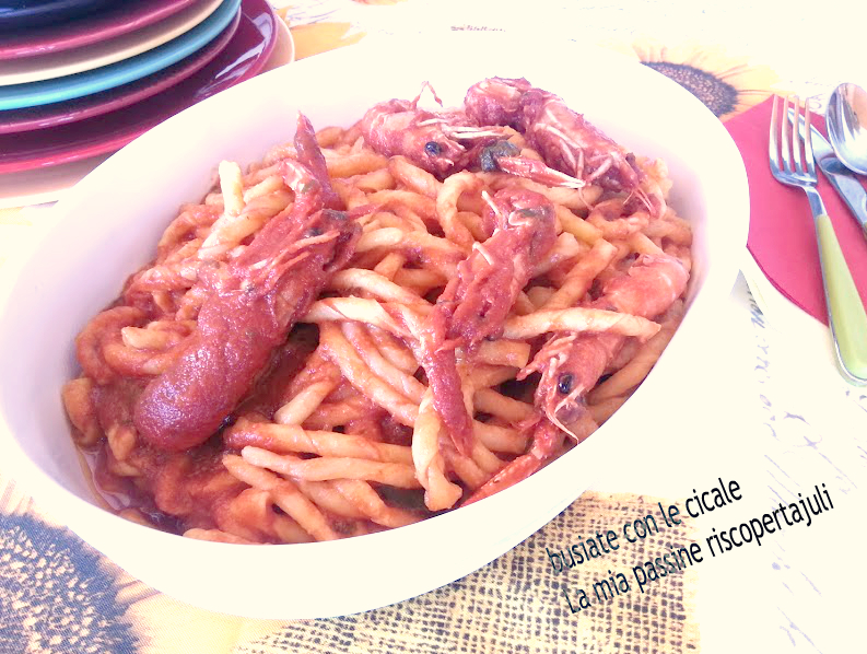 busiate con cicale rosse siciliane