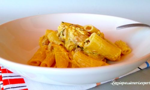 Pasta tagliata con zucca pancetta e funghi
