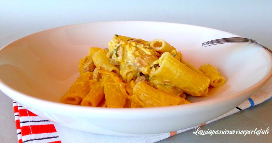 pasta tagliata con zucca pancetta e funchi