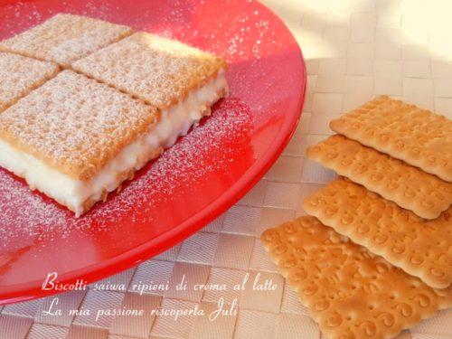 Biscotti saiwa ripieni di crema al latte
