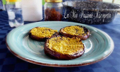 Melanzane grigliate e crema di peperone