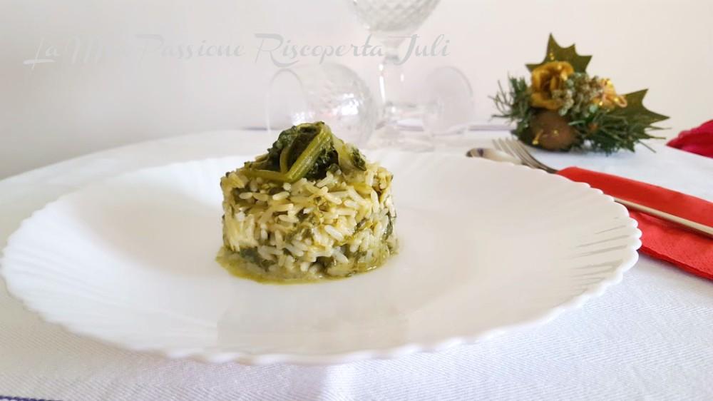 risotto con spinaci e burrata