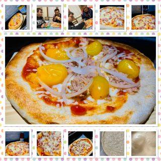 PIZZA TONNO CIPOLLA E POMODORINI GIALLI