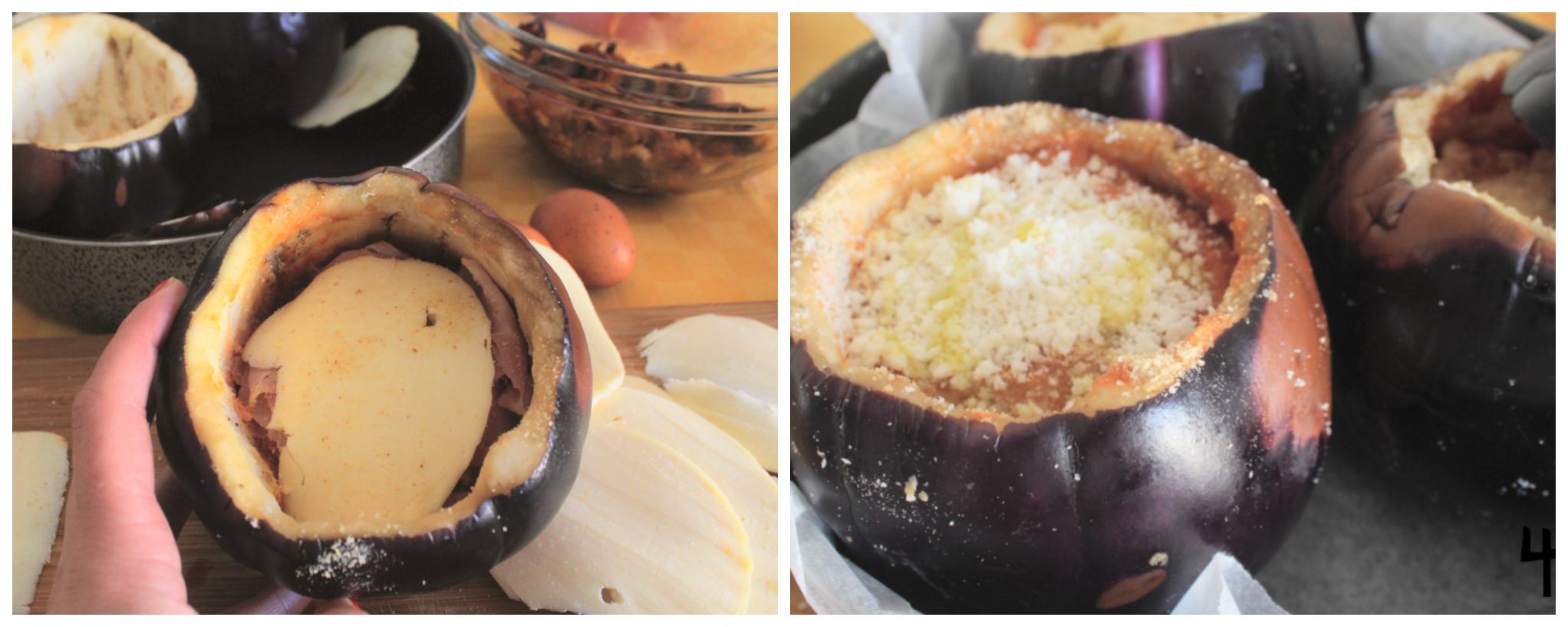 melanzana ripiena alla parmigiana collage