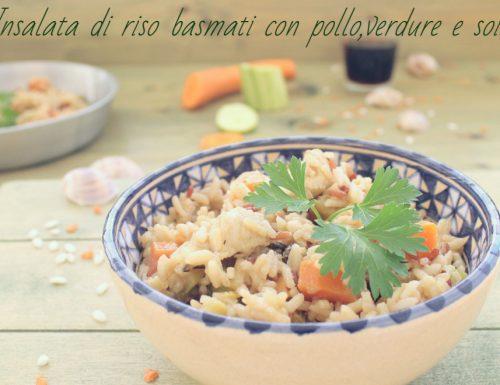 Insalata di riso basmati con pollo,verdure e soia