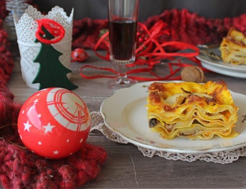 Lasagne con crema di zucca,funghi,noci e bacon