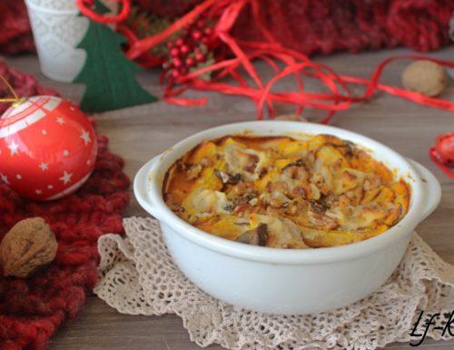 Pasta al forno veloce con crema di zucca, noci e funghi
