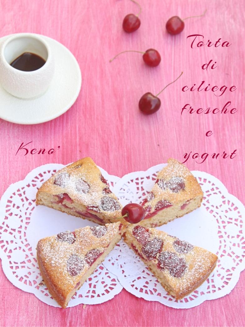 torta di ciliege fresche e yogurt-