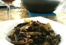 riso nero con carciofi