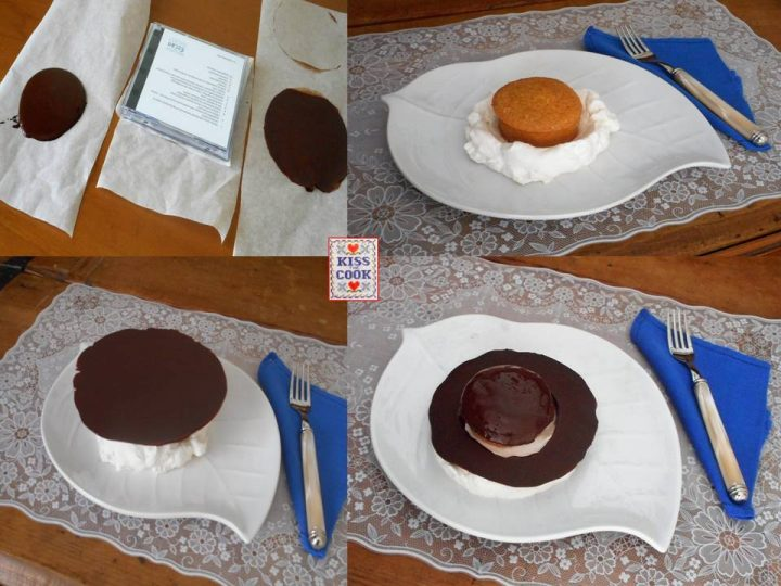 Tortino di nocciole con disco di cioccolato fondente