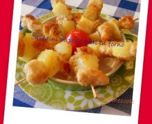 MINI SPIEDINI DI POLLO E PATATE COTTI IN FORNO (per i gemellini)
