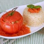 pomodori ripieni di carne con riso pilaf