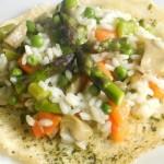risotto primavera con cialda al parmigiano