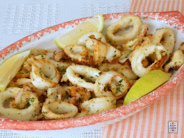 anelli di calamari cotti in forno