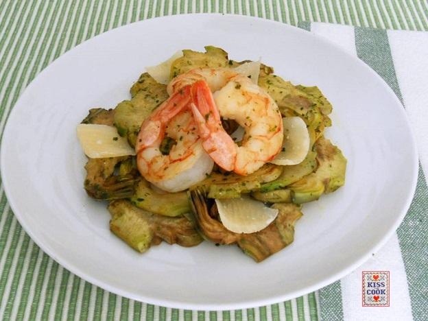 carciofi, code di gamberi e parmigiano