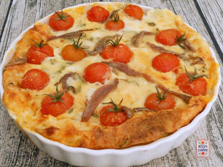 clafoutis con mozzarella e pomodorini