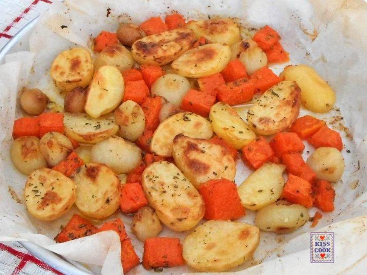Patate cipolline e zucca al forno
