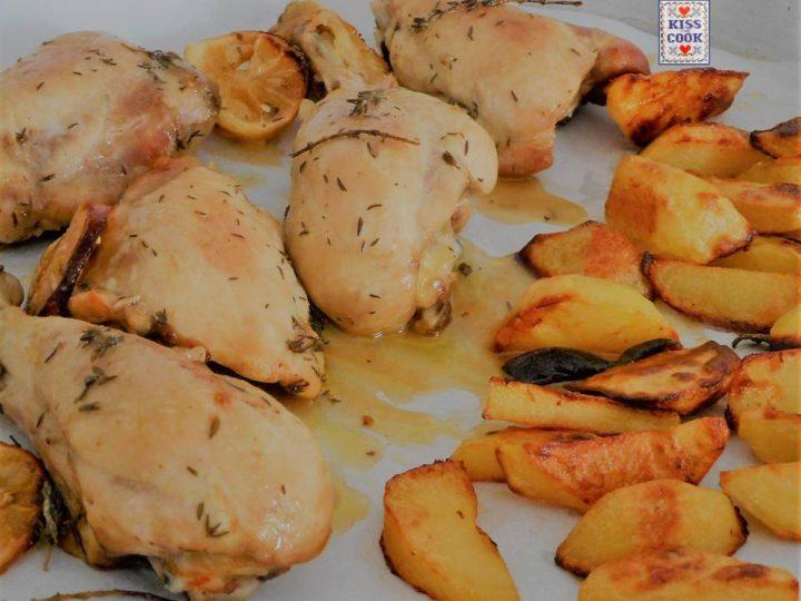 Pollo al limone con patate cotto in forno