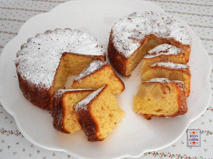 Torta morbida al limone e pere