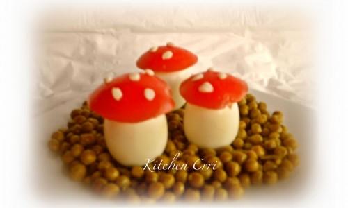 Uova e piselli: i funghetti,ricette per bambini