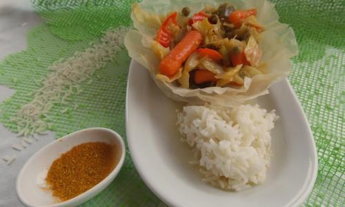 Cialde di riso con ratatouille al curry