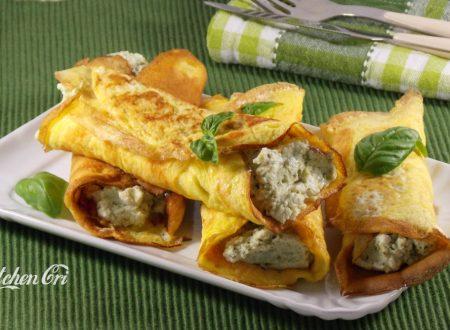 Frittatine arrotolate con crema al basilico