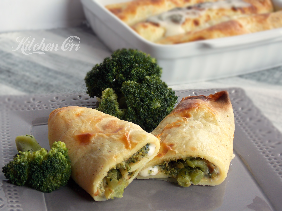 Crepes con broccoli e pecorino