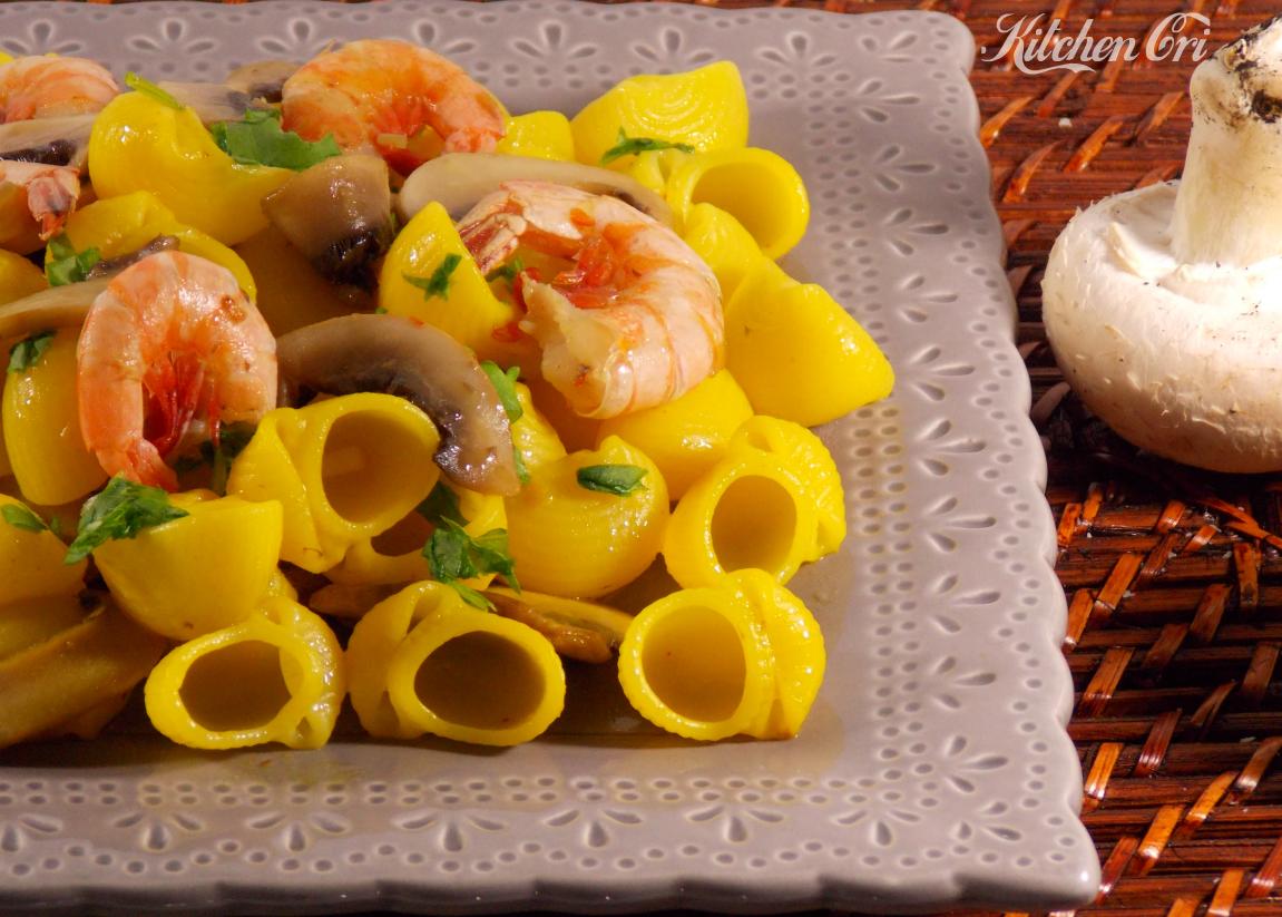 Pasta-funghi-gamberi-e-zafferano