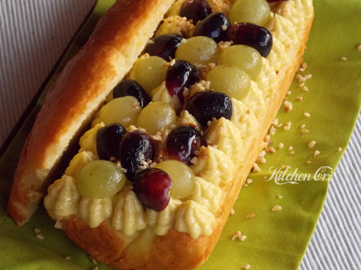 Plumcake con uva e crema