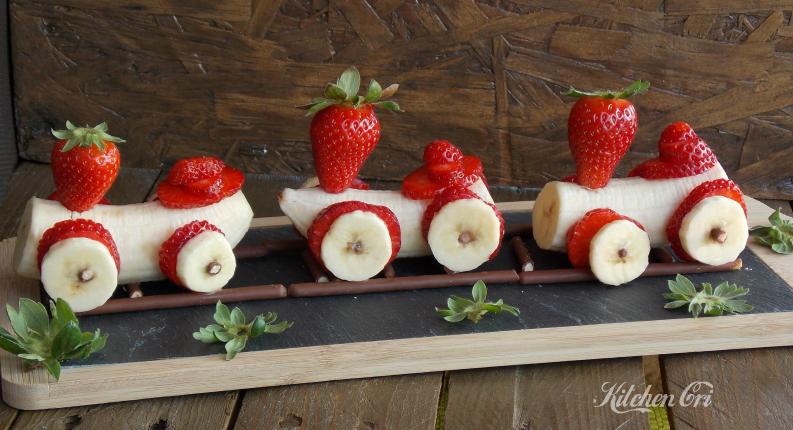 Trenino di banane e fragole