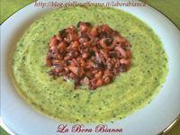 Crema fredda di zucchine con moscardini saltati La Bora Bianca