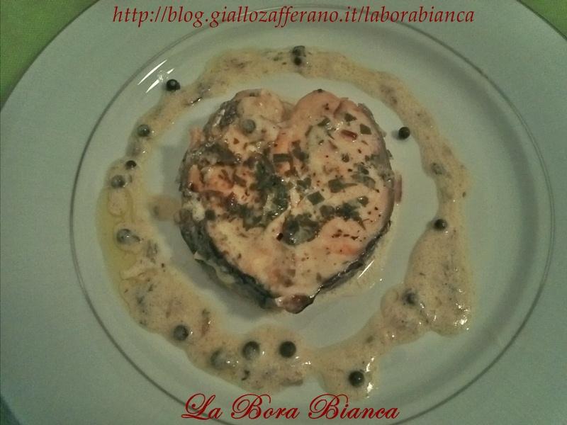 Cuori di salmone al pepe verde | ricetta romantica | La Bora Bianca