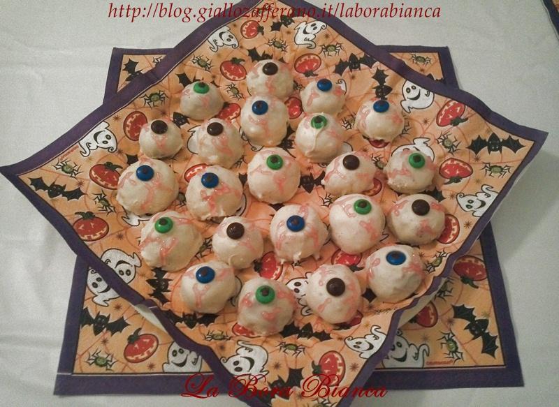 Occhi insanguinati - ricetta dolcetti di Halloween La Bora Bianca