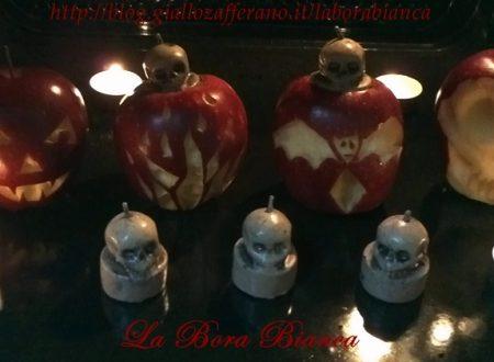 Mele stregate intagliate, decorazioni di Halloween