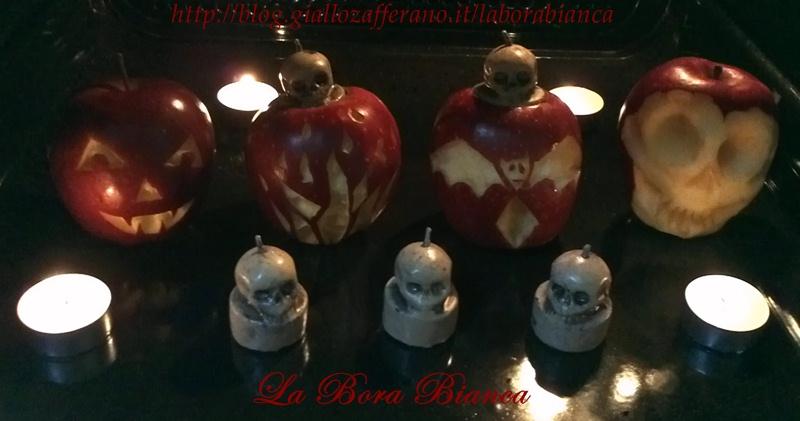 Mele stregate intagliate decorazioni di halloween la - Decorazioni mela ...