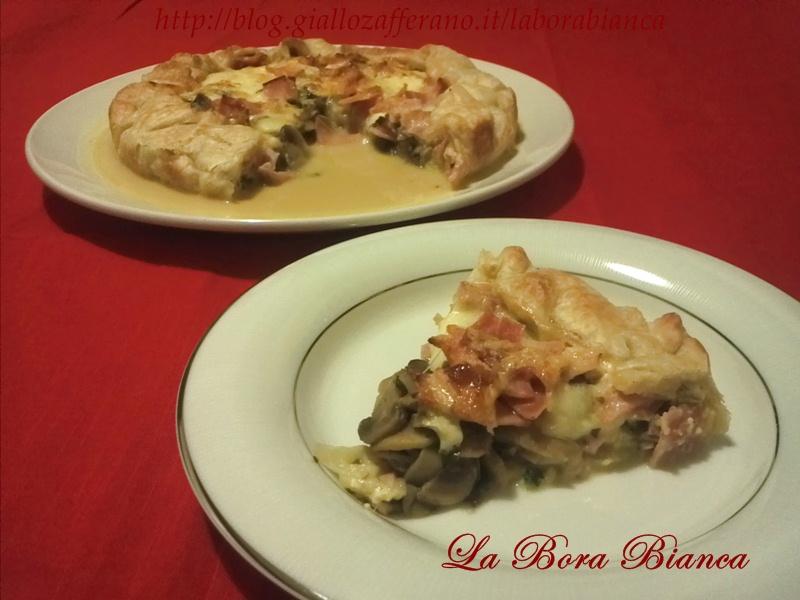 Torta salata con prosciutto e funghi, ricetta gustosa La Bora Bianca