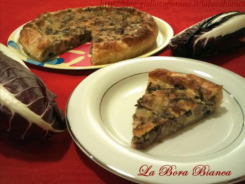 Torta salata con radicchio e salsiccia, ricetta rustica La Bora Bianca