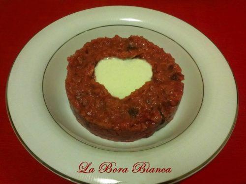 Risotto con barbabietole e crema al parmigiano, ricetta di San Valentino