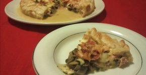 Torta salata con prosciutto e funghi, ricetta gustosa