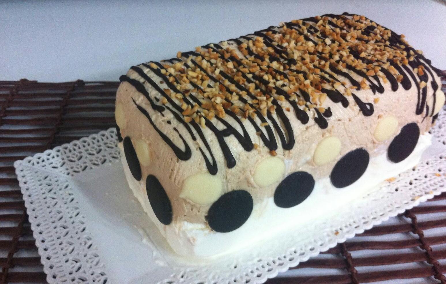 Tronchetto semifreddo nocciola e vaniglia (senza cottura)
