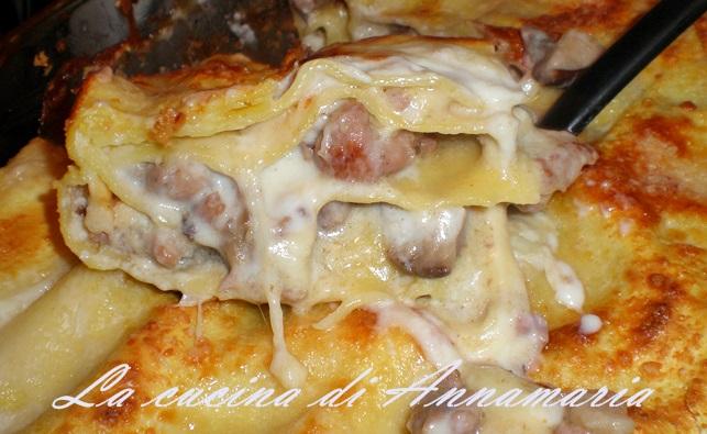 lasagna funghi salsiccia eprovola