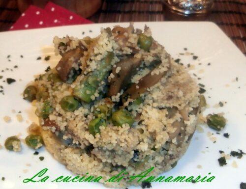 Cous cous primavera con carciofi piselli asparagi e funghi