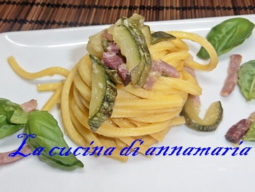 Bigoli con zucchine e speck