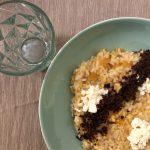 Risotto zucca e vodka, primo sale e polvere di olive nere