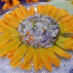 Risotto con salsiccia e fiori di zucca